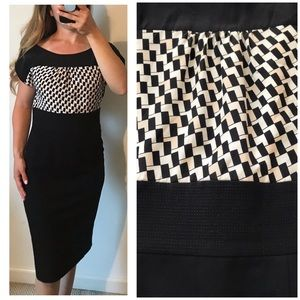 WHBM Wide Neck Silk Checkered Career Dress Size 6